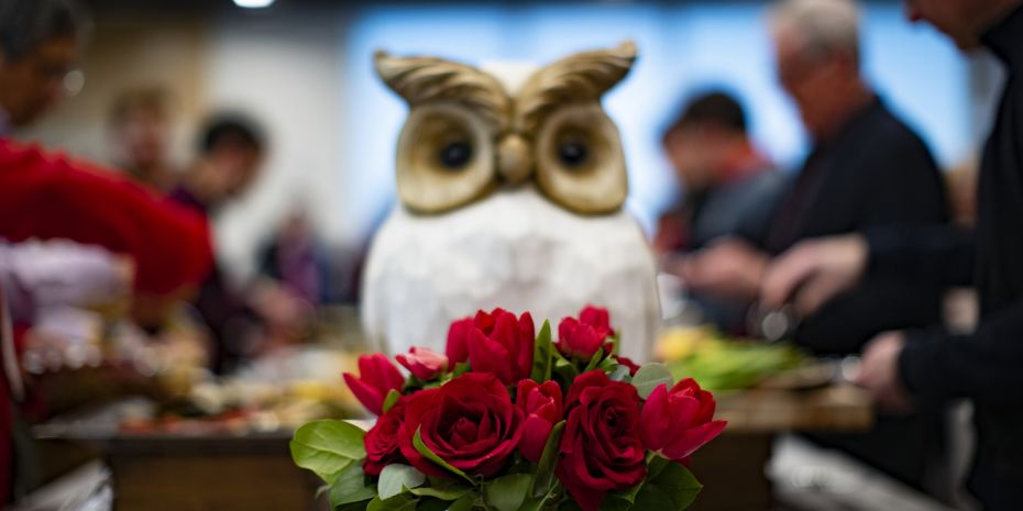 Owl on a table with roses in front of it.