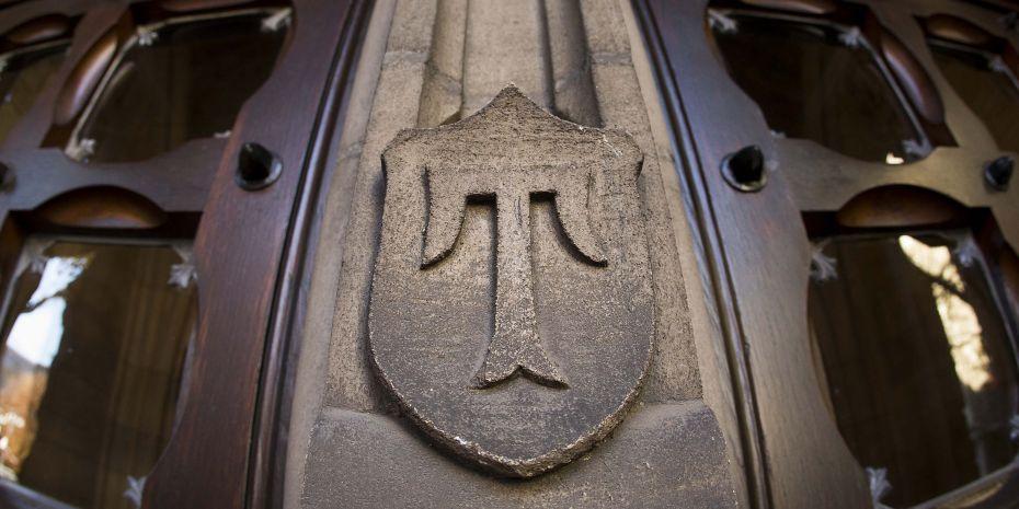 Temple logo on a door