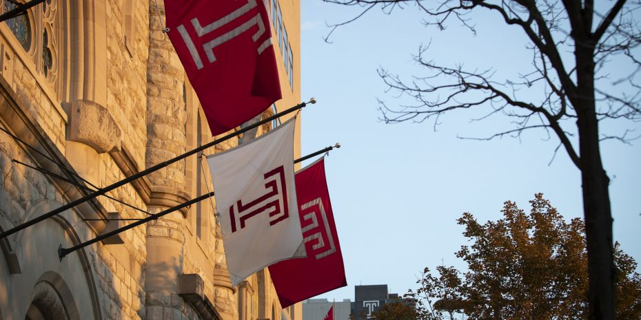 Picture of Temple Flags in front of Temple Baptist church.
