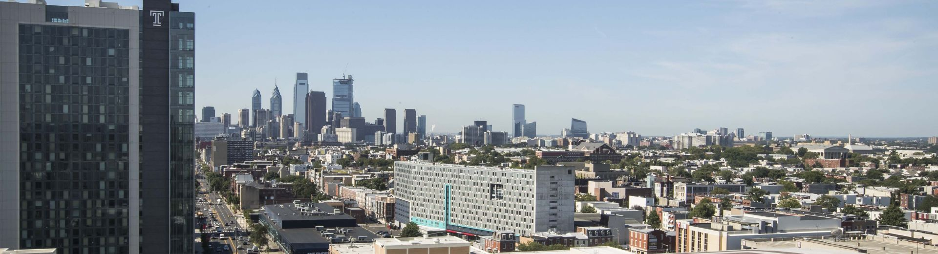 Picture of Philadelphia skyline from Morgan Hall.