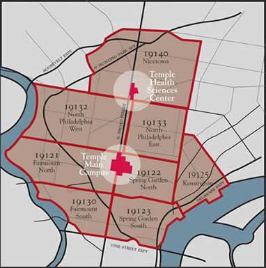 Map showing the selected Philadelphia zip codes.